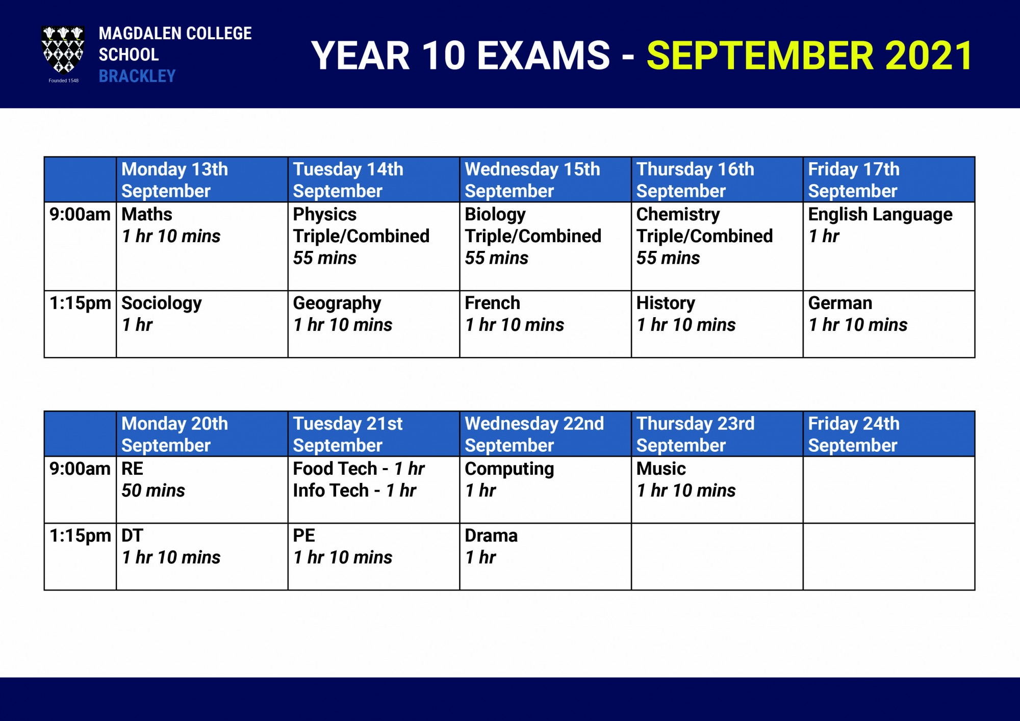 Y10 Exam Timetable September 2021